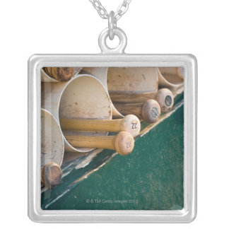 Baseball bats in the dugout silver plated necklace