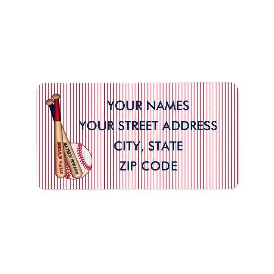 baseball bats red stripes mailing labels howard 01 label zazzle com