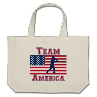Baseball Batter American Flag Team America Canvas Bag