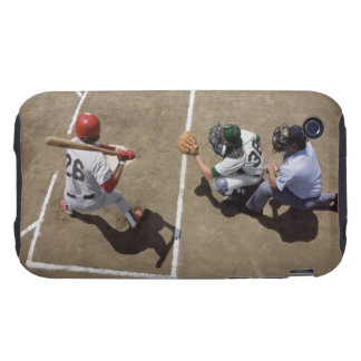Baseball batter awaiting pitch with catcher and tough iPhone 3 cover