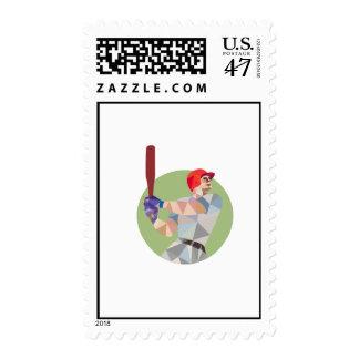 Baseball Batter Batting Circle Low Polygon Postage