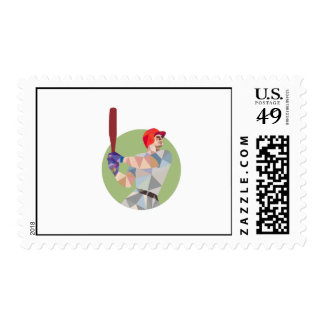 Baseball Batter Batting Circle Low Polygon Postage Stamp