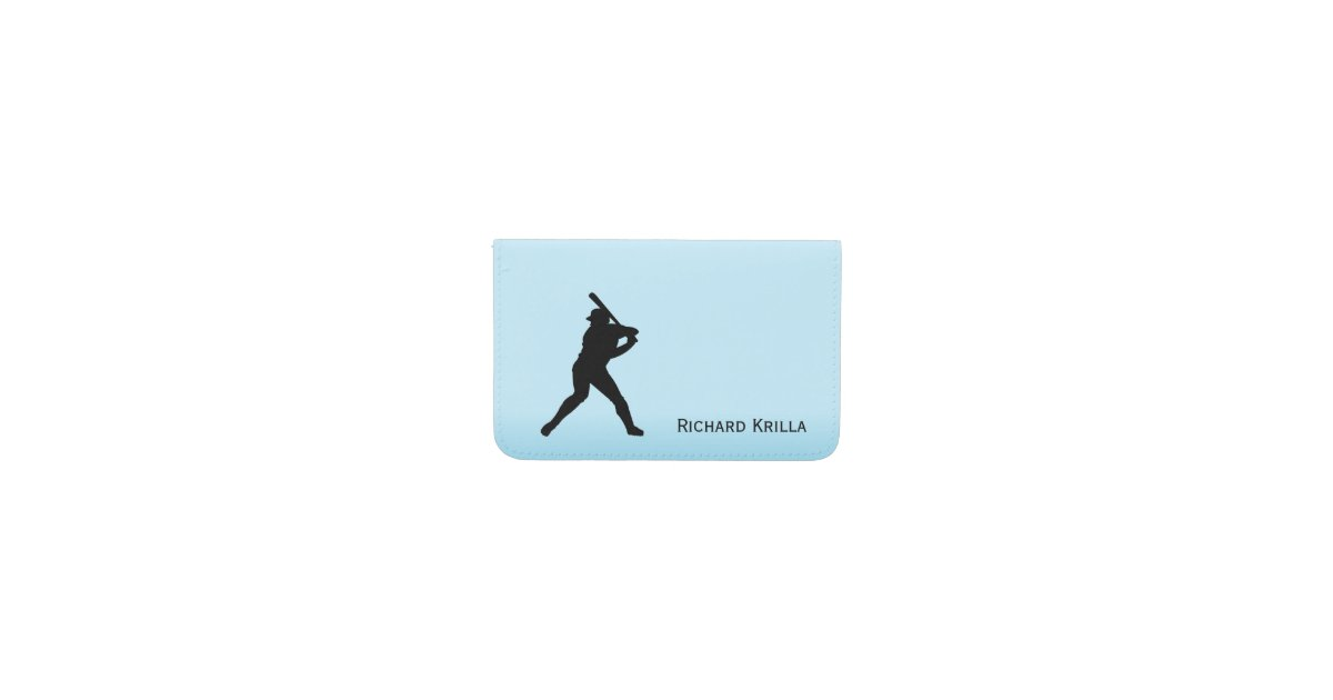 Baseball Batter Blue Sports Business Card Holder | Zazzle.com