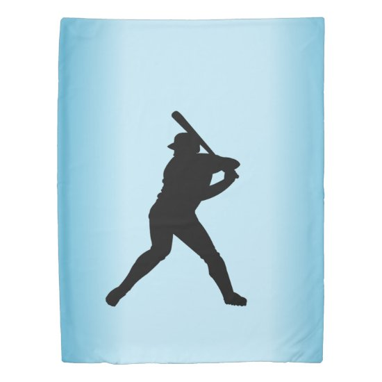 Baseball Batter Blue Sports Duvet Cover