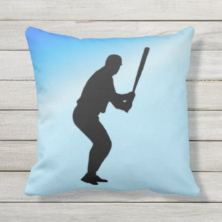 Baseball Batter Blue Sports Throw Pillow