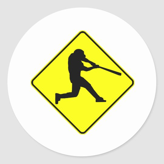 Baseball Batter Crossing Classic Round Sticker