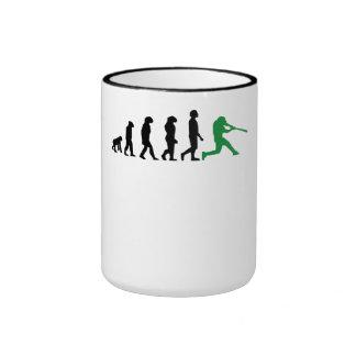 Baseball Batter Evolution (Green) Ringer Coffee Mug