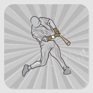 baseball batter graphic square stickers