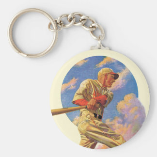 Baseball Batter Basic Round Button Keychain