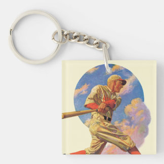 Baseball Batter Double-Sided Square Acrylic Keychain