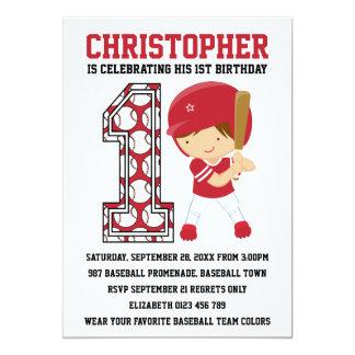"Baseball Batter Red White 1st Birthday Party 5"" X 7"" Invitation Card"