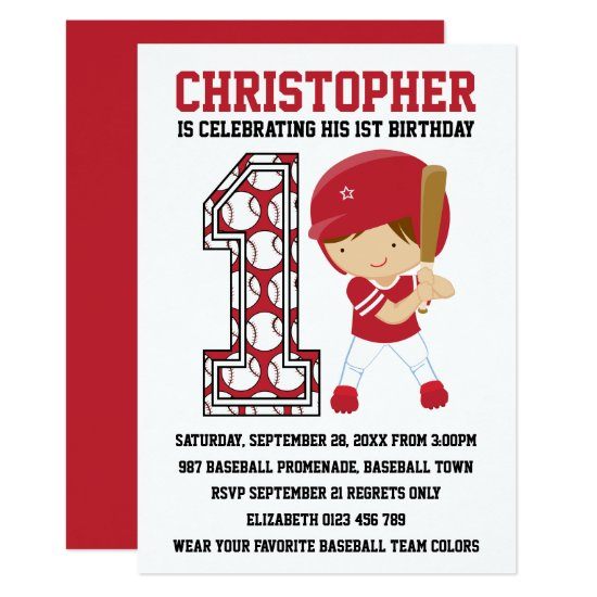 Baseball Batter Red White 1st Birthday Party Invitation