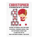 Baseball Batter Red White 1st Birthday Party Custom Invites