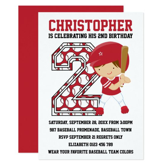 Baseball Batter Red White 2nd Birthday Party Invitation