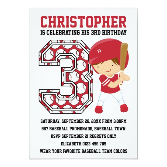 Baseball Batter Red White 3rd Birthday Party Invitation