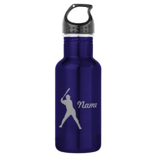 Baseball Batter Silhouette, Personalized Name 18oz Water Bottle