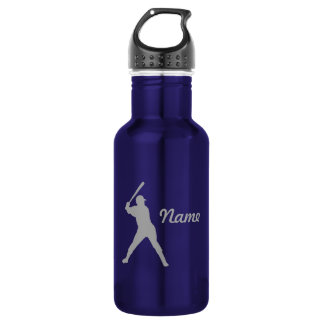 Baseball Batter Silhouette, Personalized Name Stainless Steel Water Bottle
