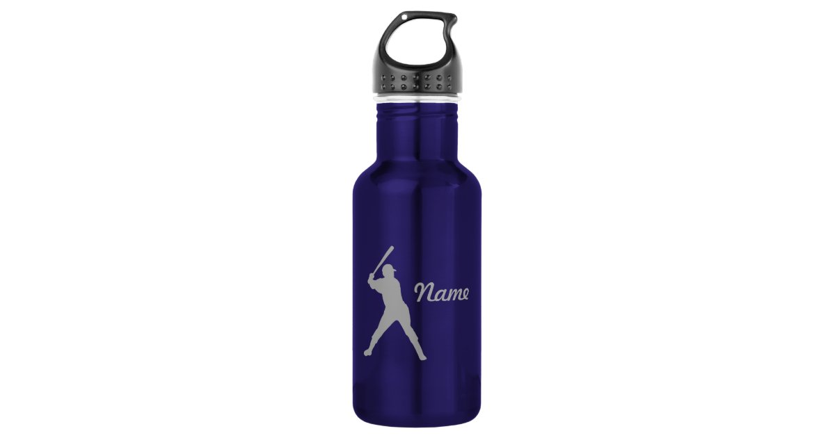 Baseball Batter Silhouette Personalized Name Stainless Steel Water Bottle Zazzle Com
