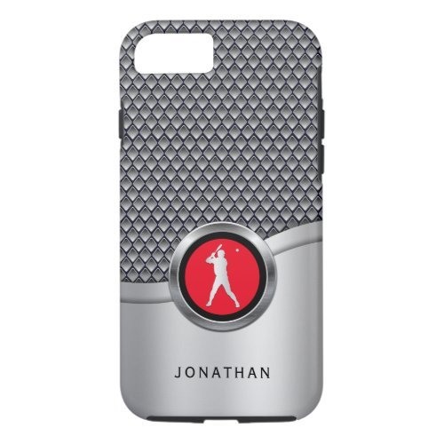 Baseball Batter Sporty Metallic Look with Name Phone Case
