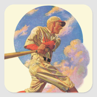 Baseball Batter Square Sticker