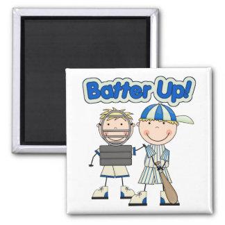 Baseball Batter Up 2 Inch Square Magnet