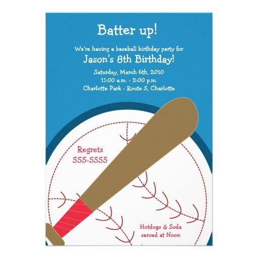 BASEBALL Batter Up Birthday Invitation