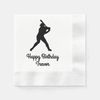 Baseball Batter Up Personalized Birthday Napkin