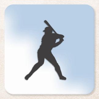 Baseball Batter Up Square Paper Coaster