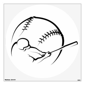 Baseball Batter with Ball Background Wall Decal