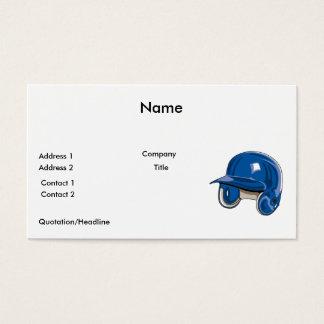 baseball batters helmet blue business card