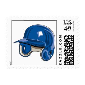 baseball batters helmet blue postage stamp