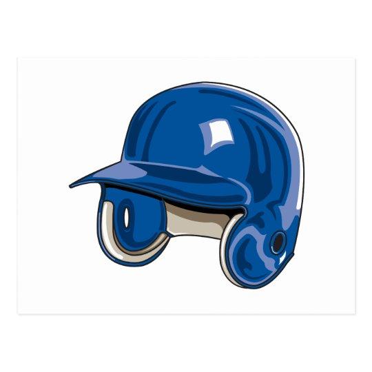 baseball batters helmet blue postcard