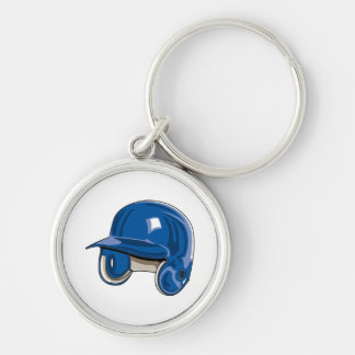 baseball batters helmet blue Silver-Colored round keychain