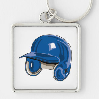 baseball batters helmet blue Silver-Colored square keychain
