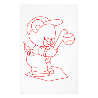 Baseball Bear Redwork Stationery