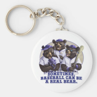 Baseball Bears by Mudge Studios Basic Round Button Keychain