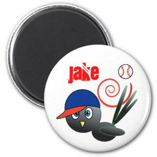 Baseball bird 2 inch round magnet