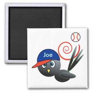Baseball bird 2 inch square magnet