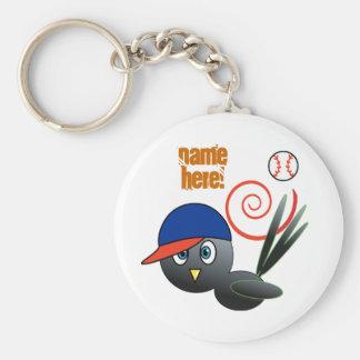 Baseball bird keychain