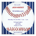 "Baseball Birthday 5.25"" Square Invitation Card"