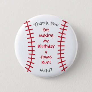 Baseball Birthday Button- Sports Related Bday Pinback Button