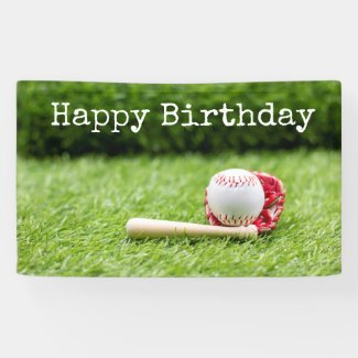 Baseball Birthday card with ball on green grass Banner