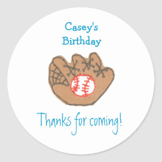 Baseball birthday favor label