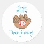 Baseball birthday favor label round stickers