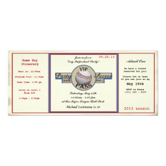 Baseball Birthday Field Pass Party Access Card
