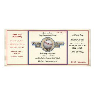 Baseball Birthday Field Pass Party Access Custom Invitation