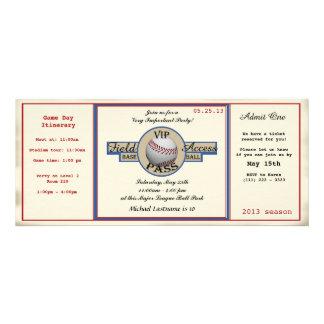 Baseball Birthday Field Pass Personalized Invites