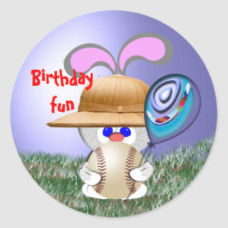 Baseball Birthday Fun Classic Round Sticker