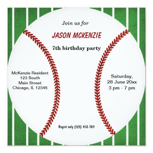 Baseball Birthday 5.25x5.25 Square Paper Invitation Card