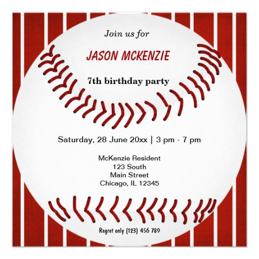 Baseball Birthday Personalized Announcements